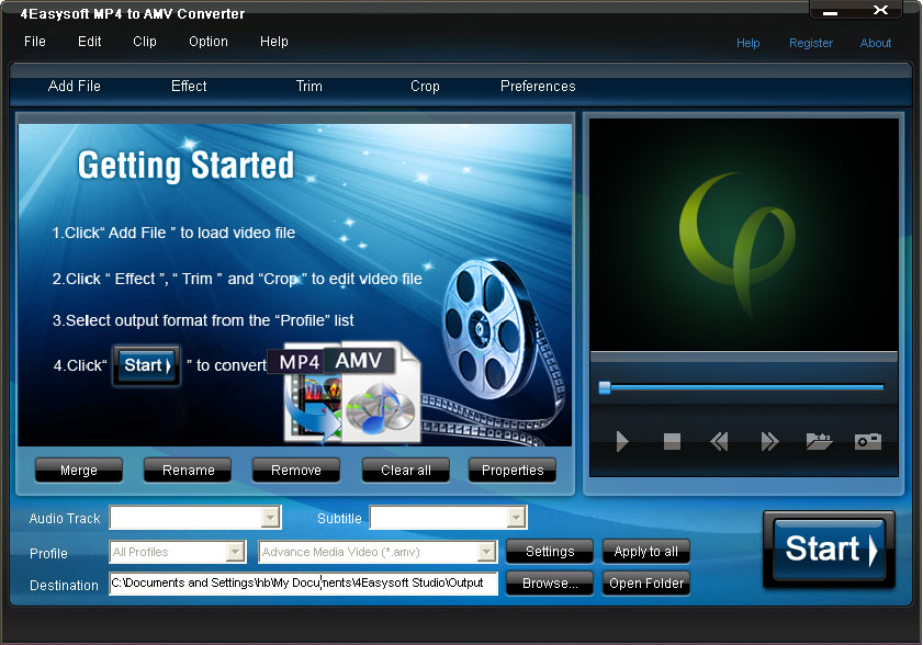 Click to view 4Easysoft MP4 to AMV Converter screenshots